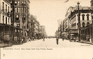 Market Square Park - Main Street, north from Preston Avenue, Houston, Texas (postcard, c. 1905–07)