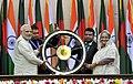 Main steering wheel of INS Vikrant handed over by the Prime Minister, Shri Narendra Modi to the Prime Minister of Bangladesh, Ms. Sheikh Hasina, in Dhaka, Bangladesh on June 06, 2015.jpg