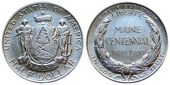 Maine Centennial half dollar – obverse (left) and reverse (right)