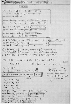 Ettore Majorana - Handwritten notes preparatory to the equation in infinite components