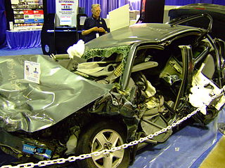A Chevrolet Malibu involved in a rollover crash