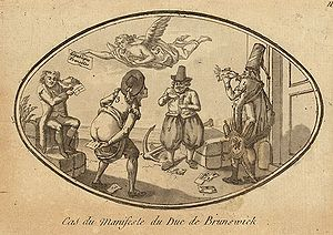 French Revolutionary Wars - Anonymous caricature depicting the treatment given to the Brunswick Manifesto by the French population