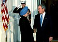 Manmohan Singh being welcomed by the US President, Mr. George Bush at a dinner hosted by him in White House in connection with the Summit on Financial Market and the World Economy, at Washington, USA on November 14, 2008.jpg