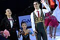 Mao Asada, An Xiangyi and Javier Fernández at the 2015 Cup of China.jpg