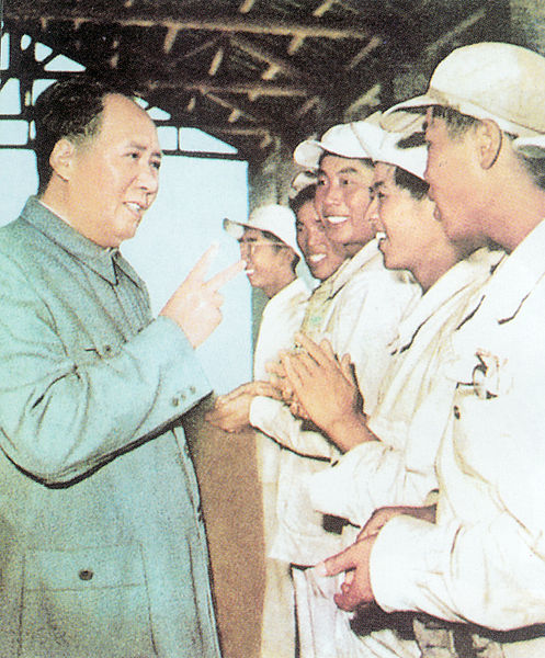 File:Mao Zedong with workers.jpg