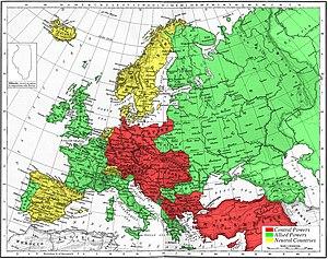 Alianzas militares europeas en 1915.Verde: Triple Entente (aliados)Rojo: Triple Alianza (Potencias Centrales).