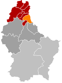 Map of Luxembourg with Hosingen highlighted in orange, the district in dark grey, and the canton in dark red