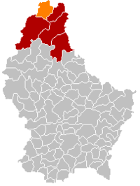 Map of Luxembourg with Troisvierges highlighted in orange, the district in dark grey, and the canton in dark red