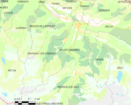 Mapa obce Ax-les-Thermes