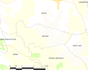 Antras, Gers - Map of Antras and its surrounding communes