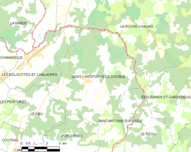 Mapa obce Saint-Christophe-de-Double