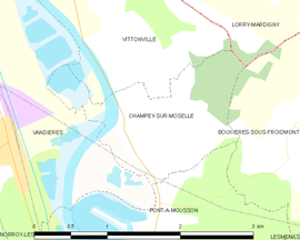 Mapa obce Champey-sur-Moselle