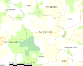 Mapa obce Billy-Chevannes