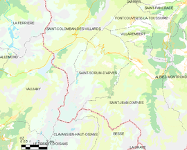 Mapa obce Saint-Sorlin-d'Arves