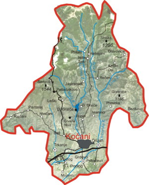 Kočani Municipality - The map of Kočani Municipality
