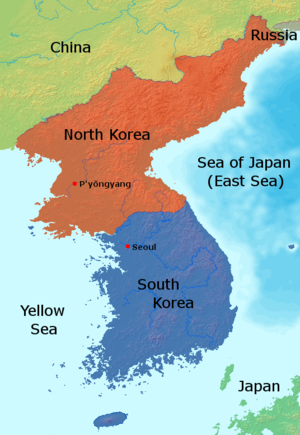 United Nations Security Council Resolution 702 - Location of North and South Korea