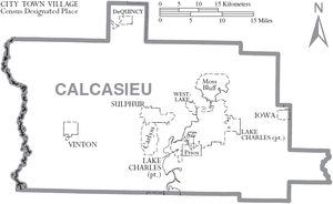 Calcasieu Parish, Louisiana - Map of Calcasieu Parish, Louisiana with municipal labels.