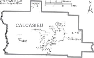 Calcasieu Parish, Louisiana - Map of Calcasieu Parish, Louisiana with municipal labels.