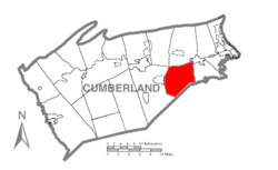 Map of Cumberland County, Pennsylvania highlighting Monroe Township