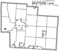 Map of Delaware County Ohio Highlighting Ostrander Village.png