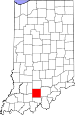 Map of Indiana highlighting Orange County.svg