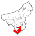 Map of Lower Saucon Township, Northampton County, Pennsylvania Highlighted.png