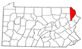 Map of Pennsylvania highlighting Wayne County.png