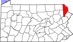 map of Pennsylvania highlighting Wayne County