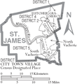 Map of St. James Parish Louisiana With Municipal and District Labels.PNG
