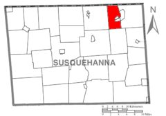Map of Susquehanna County Pennsylvania highlighting Oakland Township.PNG