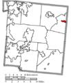 Map of Warren County Ohio Highlighting Harveysburg Village.png