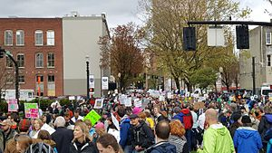 March for Science Portland - Marchers returning to the park