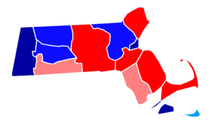 Massachusetts gubernatorial election, 2014 - Results by county. Red denotes counties won by Baker and blue denotes counties won by Coakley. Darker colors denote higher percentages of the vote for the candidate indicated.