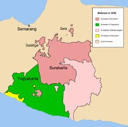 The realm of Surakarta Sunanate (magenta) and Yogyakarta Sultanate (green) in 1830
