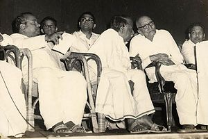 Anti-Hindi agitations of Tamil Nadu -  (Front row : left to right) K. A. Mathialagan, C. N. Annadurai, Rajaji and M. Karunanidhi