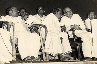 Dravida Munnetra Kazhagam - DMK leaders K. A. Mathialagan, V. P. Raman, C. N. Annadurai and M. Karunanidhi with Rajaji