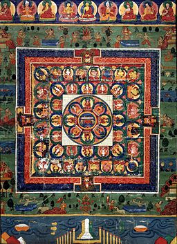 Medicine Buddha painted mandala with goddess Prajnaparamita in center, 19th century, Rubin