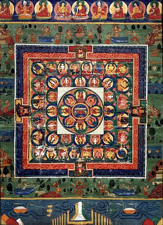 History of Asian art - Painted Bhutanese Medicine Buddha mandala with the goddess Prajnaparamita in center, 19th century, Rubin Museum of Art.