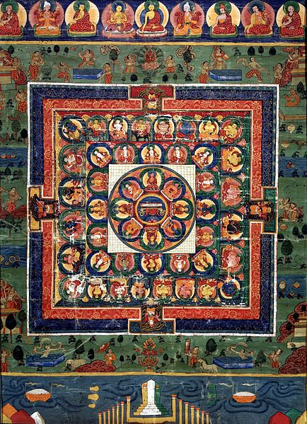 Archivo:Medicine Buddha painted mandala with goddess Prajnaparamita in center, 19th century, Rubin.jpg