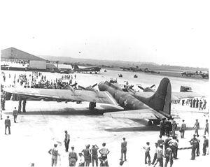Memphis Belle (aircraft) - The Memphis Belle on a War Bond campaign at Patterson Field during World War II.