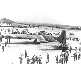 Memphis Belle (aircraft) - The Memphis Belle on a War Bond campaign at Patterson Field during World War II.