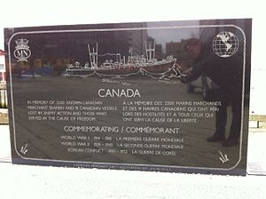 Canadian Merchant Navy - Engraving of SS Point Pleasant Park, Canadian Merchant Navy Monument, Sackville Landing, Halifax, Nova Scotia