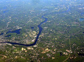 Merrimack River - The Merrimack as it flows from Haverhill to its mouth in Newburyport, Massachusetts
