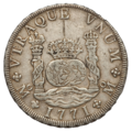 Mexico Carlos III Pillar Dollar of 8 Reales 1771 (obv) transparent background.png