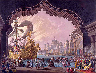 Grand opera - Set design by Francesco Bagnara  for Act I of Il crociato in Egitto by Meyerbeer.