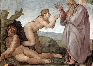 Eve - The Creation of Eve, from the Sistine Chapel ceiling by Michelangelo