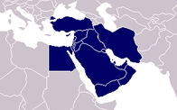 A map showing the location of Middle East
