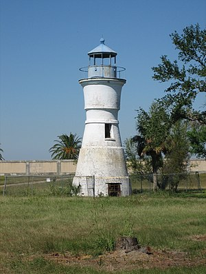 Milneburg - This now land-locked lighthouse was at the end of Milneburg pier before the land around it was reclaimed. (This 1855 brick lighthouse replaced an earlier wooden one from 1832.)