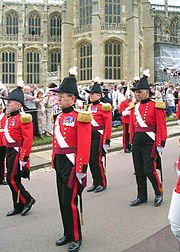 Military Knights of Windsor in the procession to the Garter Service.