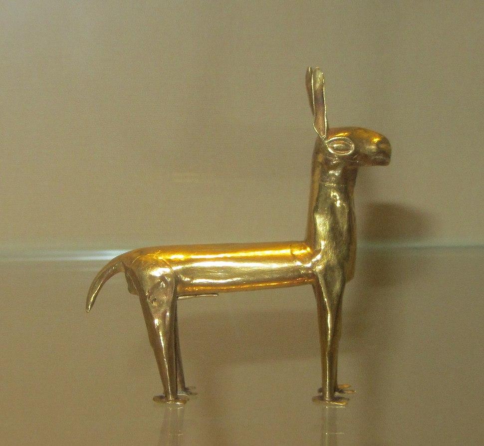 Miniature gold llama figurine